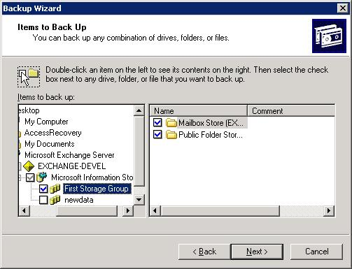 exchange server backup wizard 1