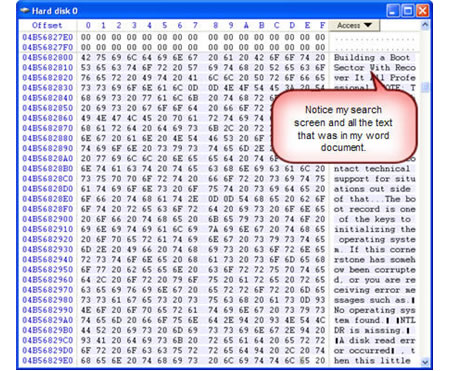 undelete data with sector hex editor